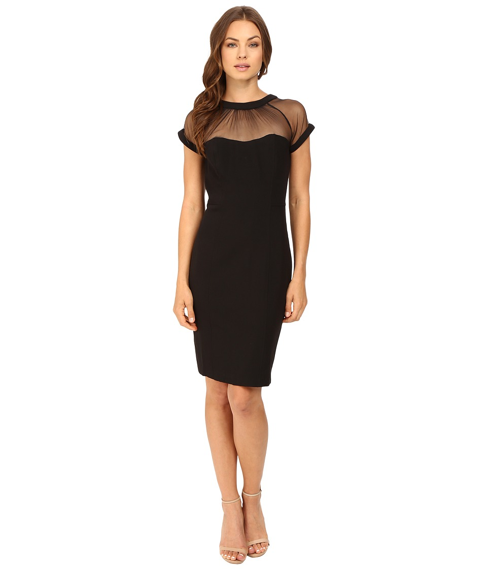 rsvp - Ghost Short Sleeve Sheer Yoke Dress (Black) Women's Dress