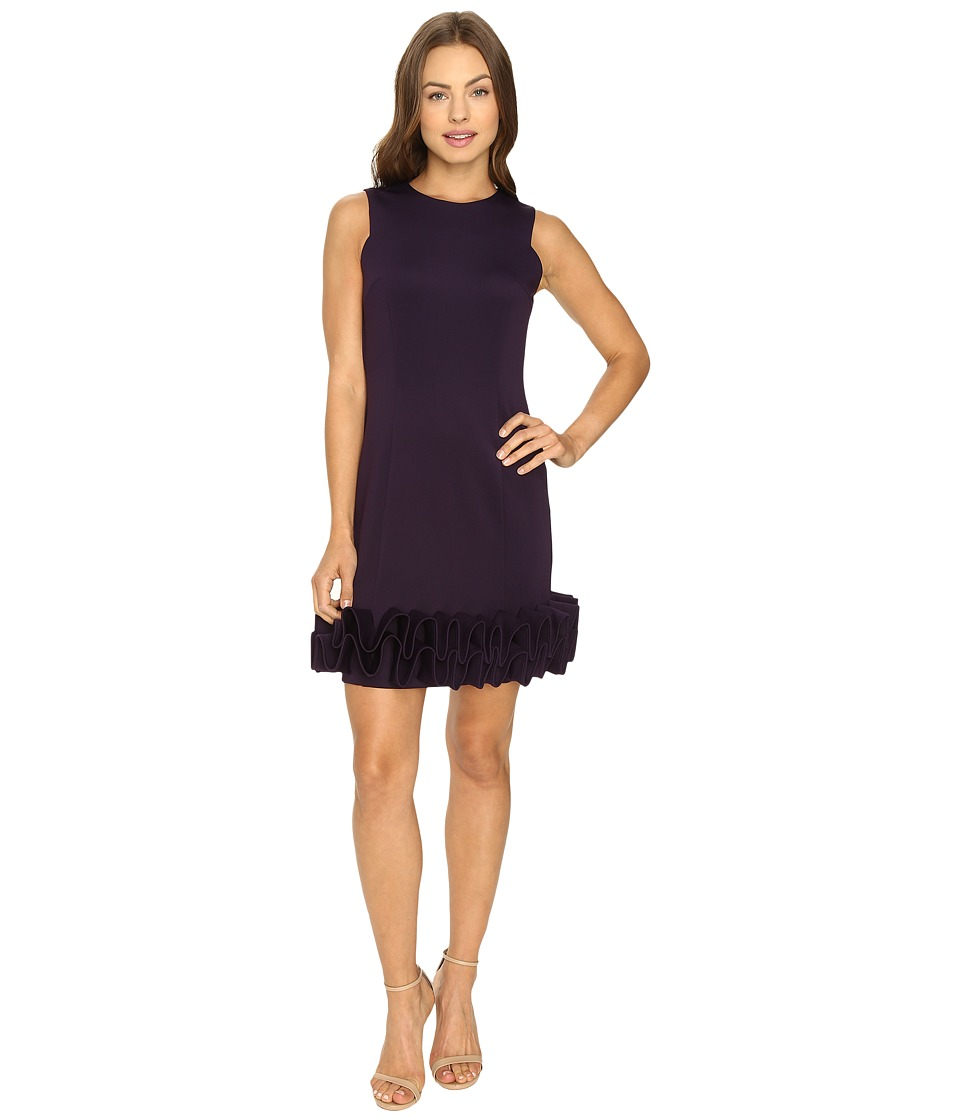 rsvp - Jackie Ruffle Bottom Dress (Plum) Women's Dress