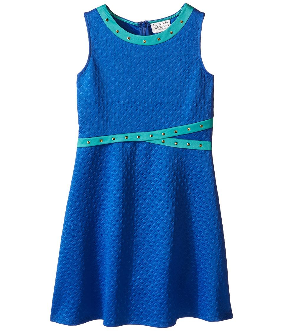 Us Angels - Embossed Scuba Sleeveless Fit Flare w/ Stud Trim (Big Kids) (Blue) Girl's Dress
