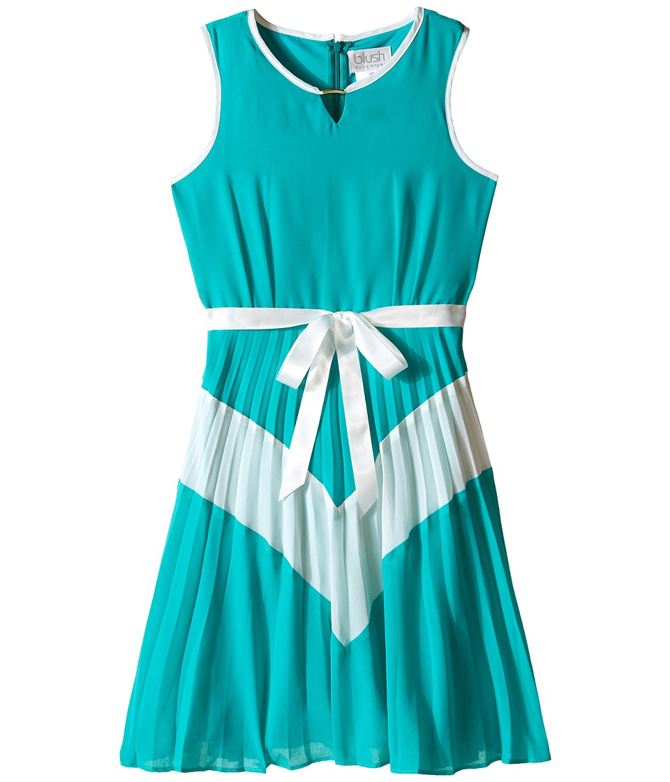 Us Angels - Chiffon Sleeveless Color Block w/ Pleated Skirt (Big Kids) (Jade) Girl's Dress