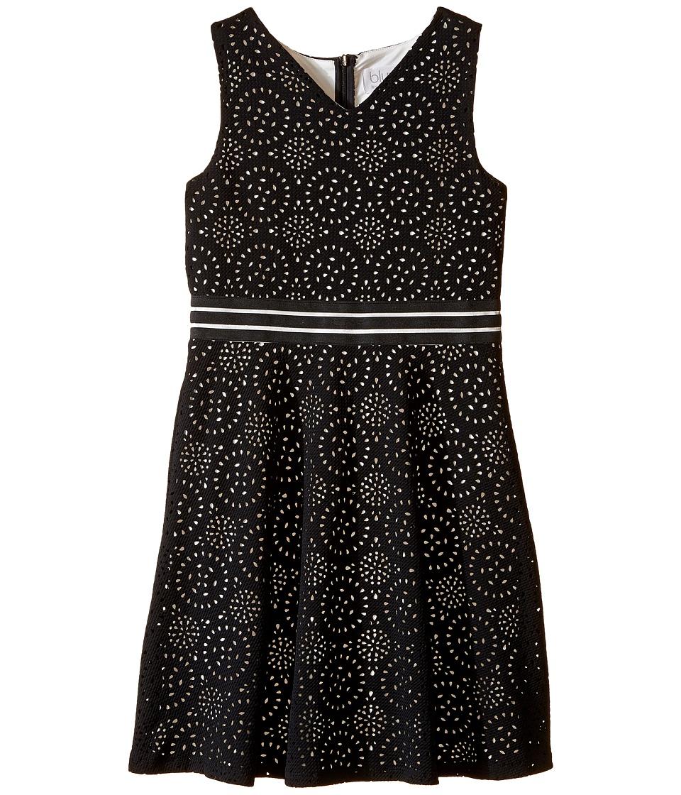 Us Angels - Laser Cut Pique Sleeveless Fit Flare w/ Novelty Waist (Big Kids) (Black) Girl's Dress