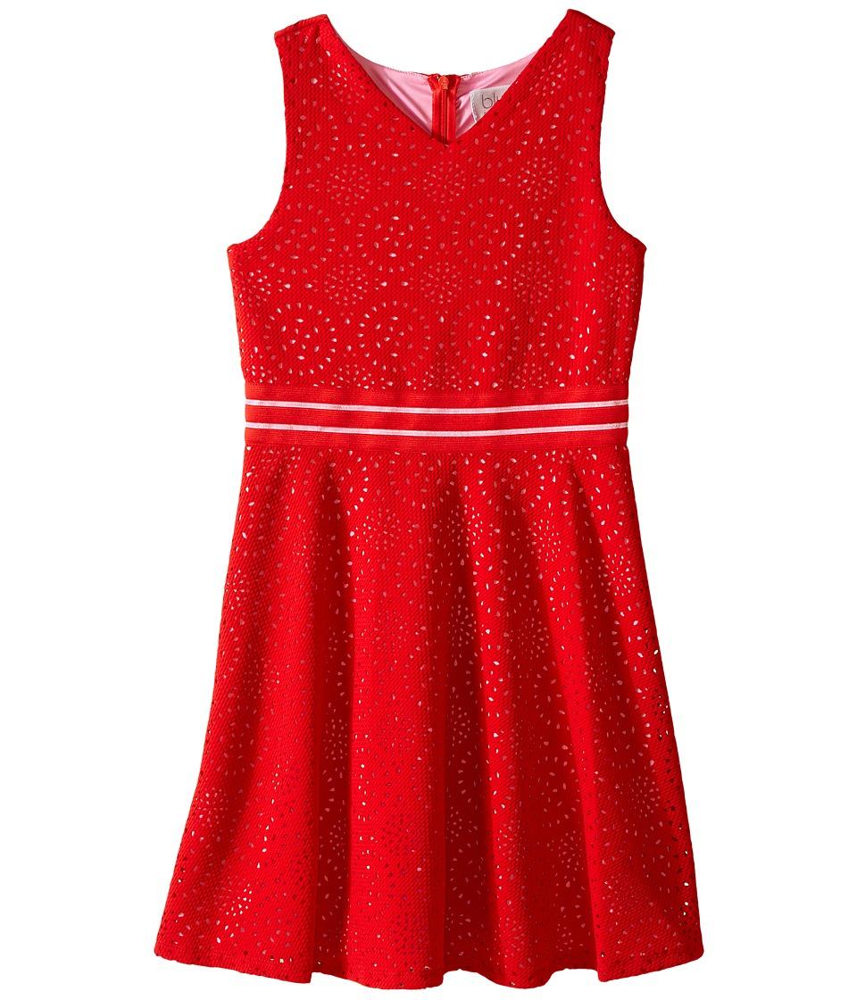 Us Angels - Laser Cut Pique Sleeveless Fit Flare w/ Novelty Waist (Big Kids) (Tomato) Girl's Dress
