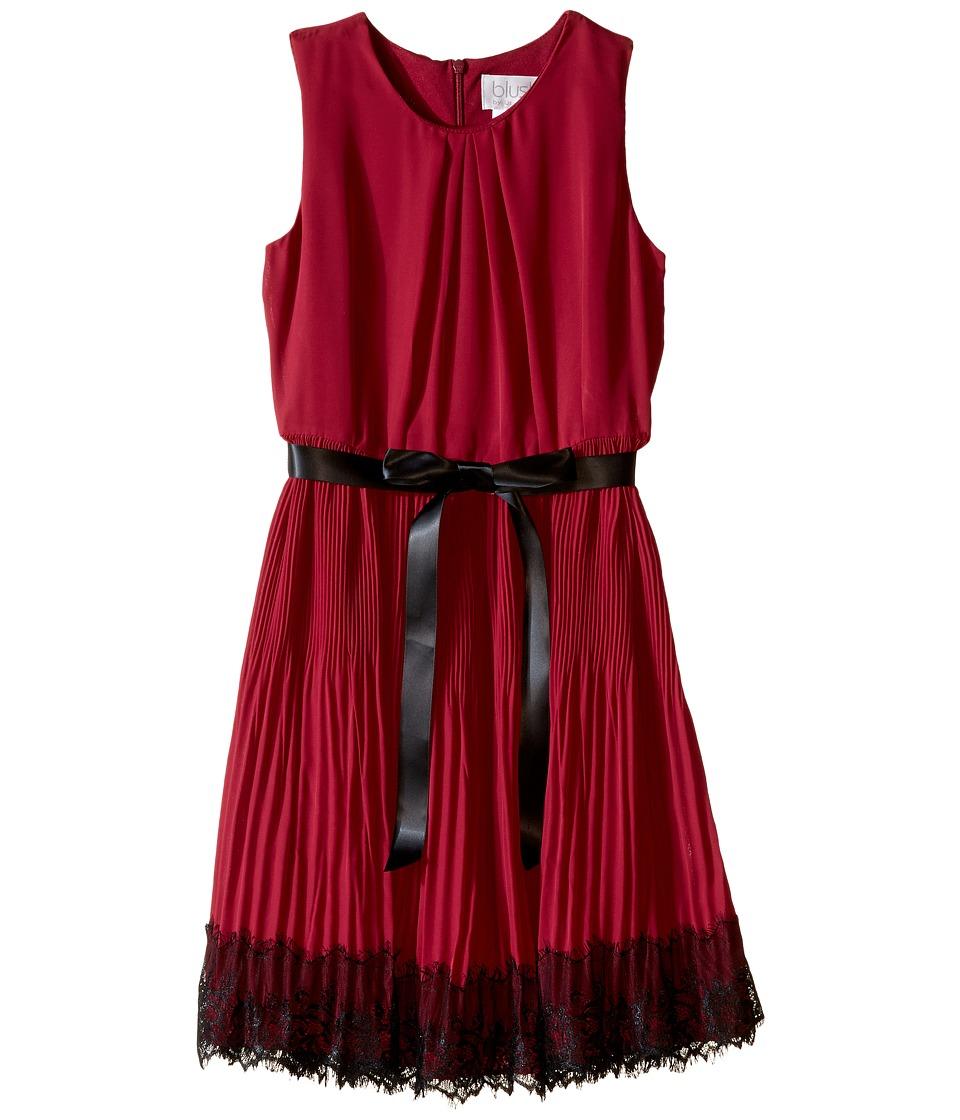 Us Angels - Sleeveless Pleated Chiffon Dress w/ Lace Trim Skirt (Big Kids) (Cranberry) Girl's Dress