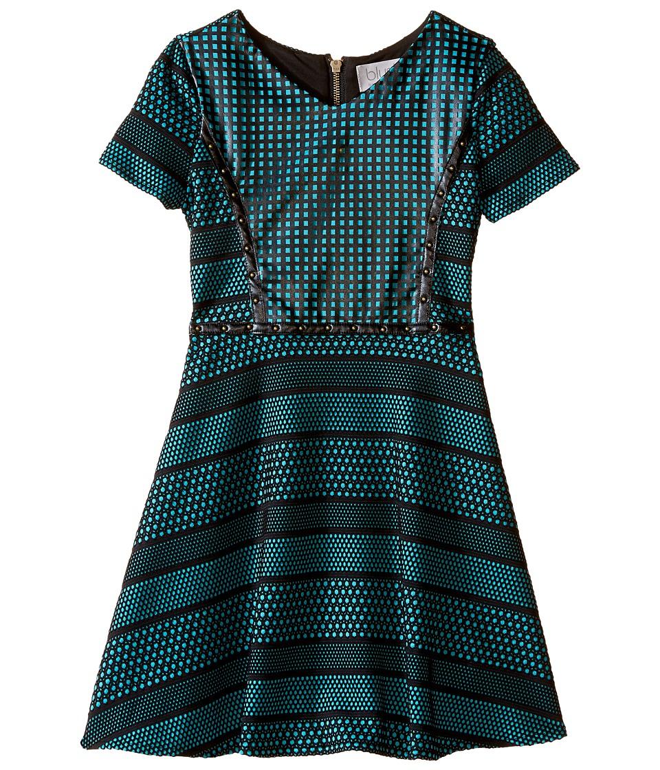 Us Angels - Short Sleeve Bonded Scuba Dress w/ Pleather Inset Flare Skirt (Big Kids) (Breeze) Girl's Dress