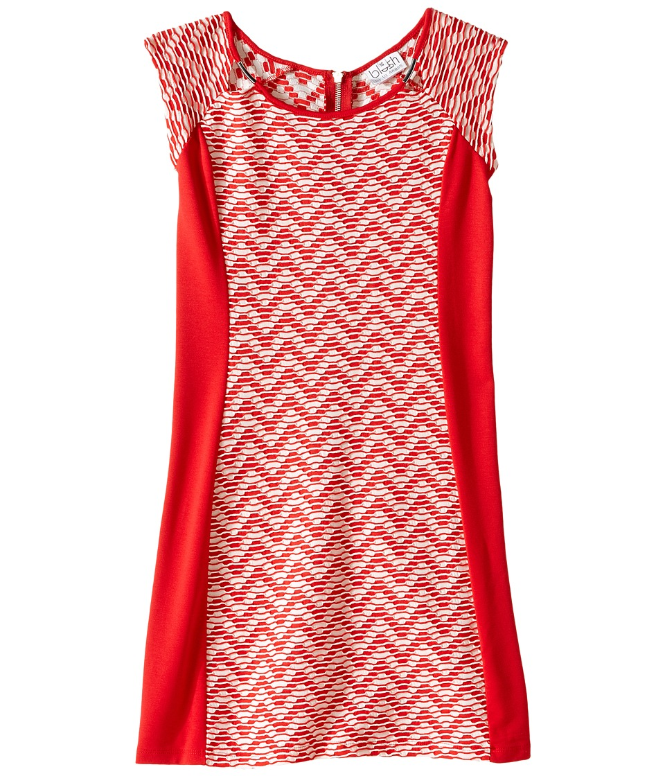 Us Angels - Two-Tone Double Knit Raglan Cut Out Sheath (Big Kids) (Tomato) Girl's Dress