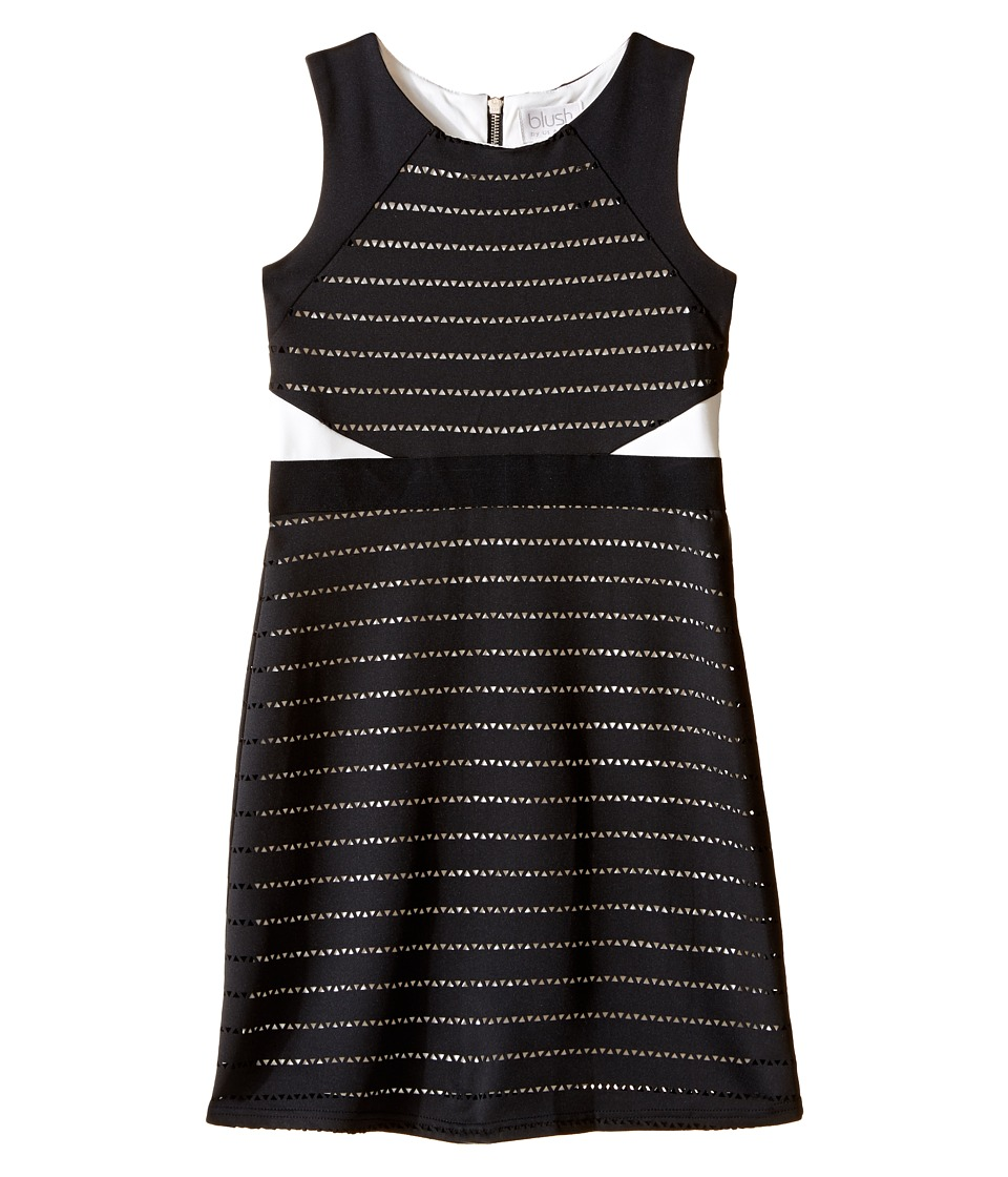 Us Angels Sleeveless Scuba Laser Cut Color Block Sheath Dress (Big Kids) (Black) Girl