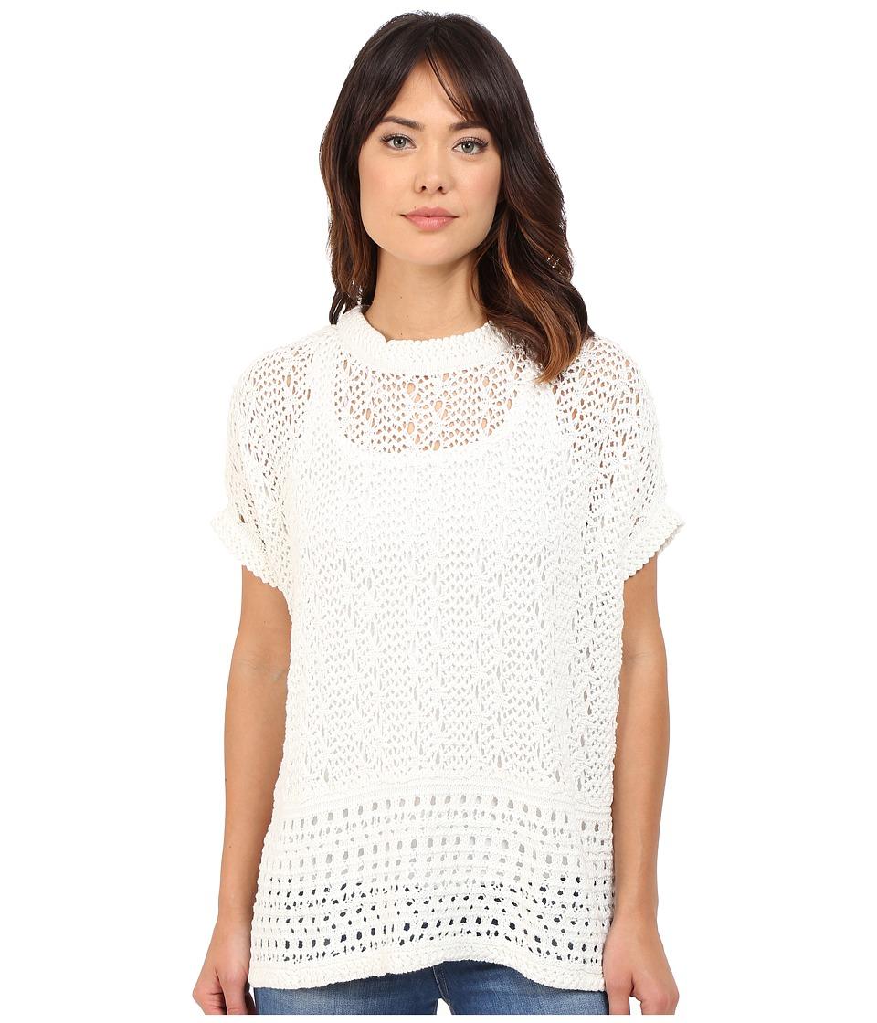 Brigitte Bailey - Open Stitch Poncho (White) Women's Clothing