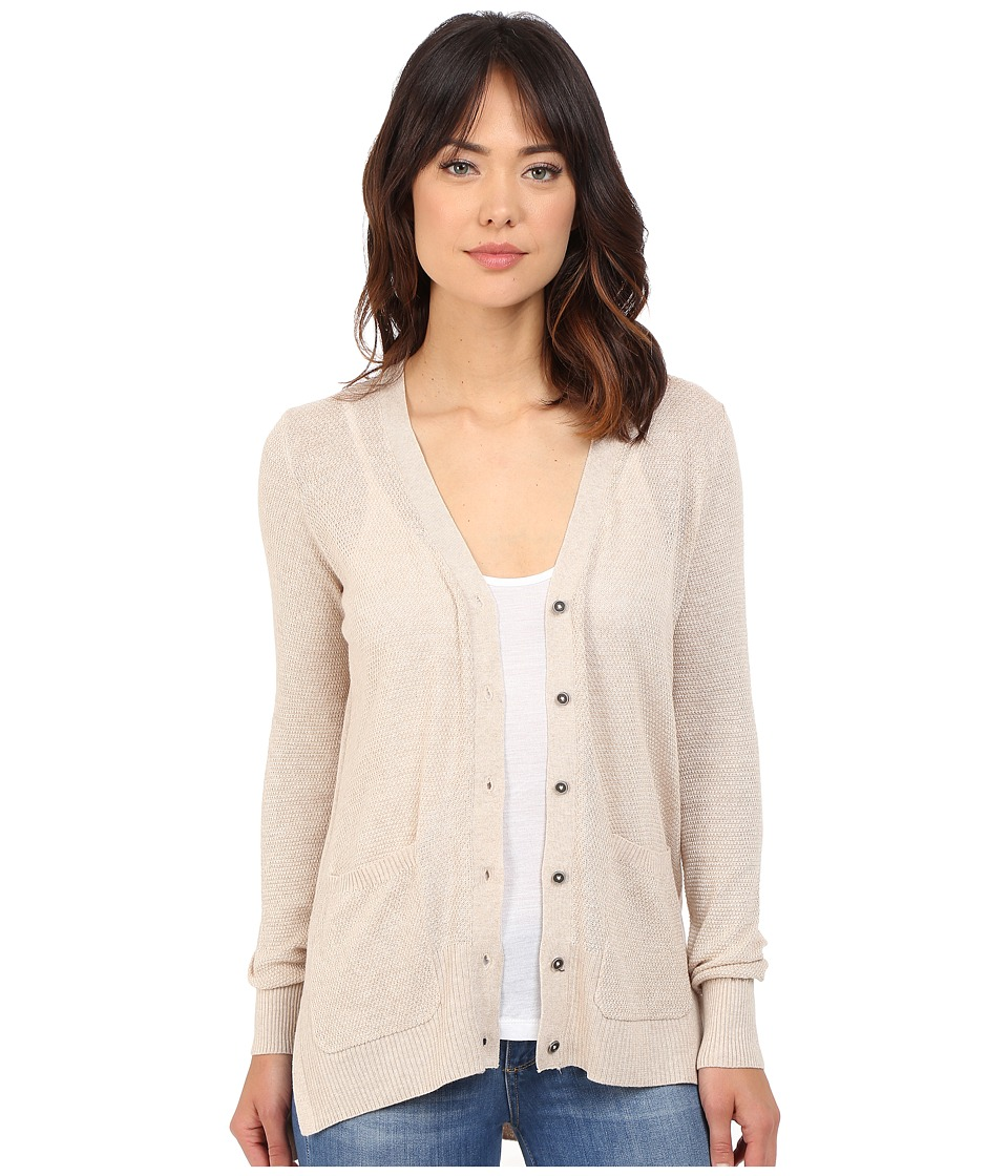 Brigitte Bailey - Textured Stitched High-Low V-Neck Cardigan (Mocha Heather) Women's Sweater