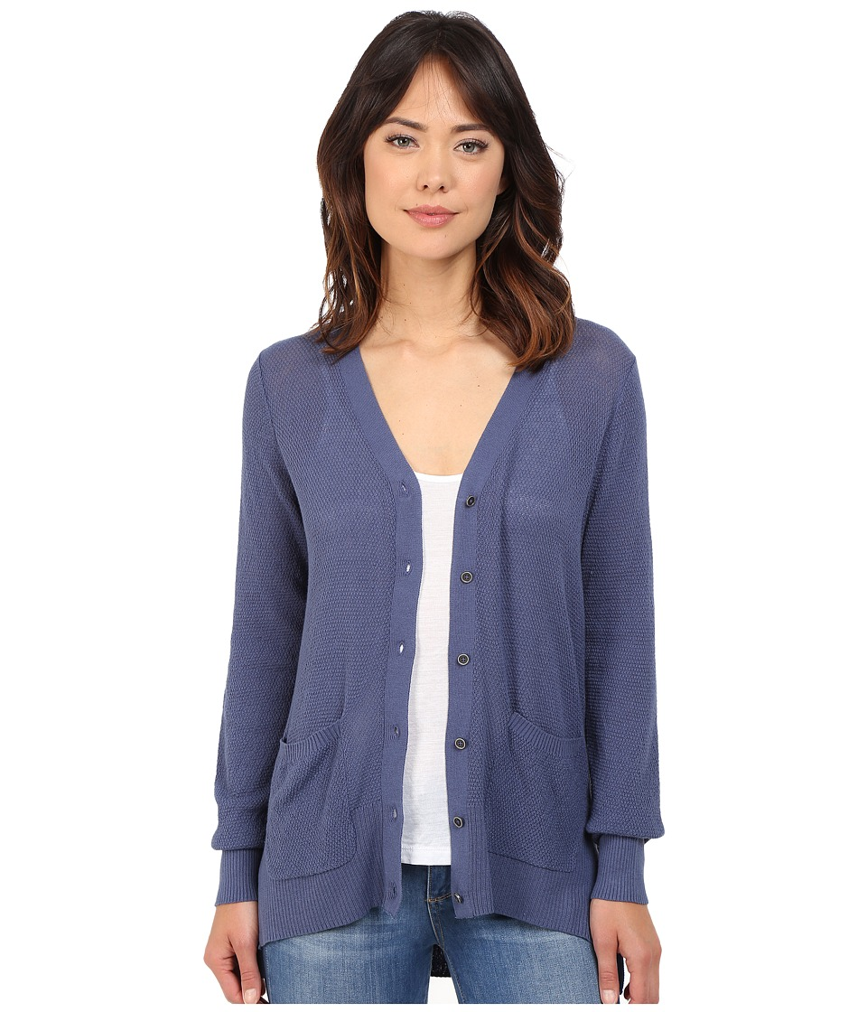Brigitte Bailey - Textured Stitched High-Low V-Neck Cardigan (Indigo) Women's Sweater