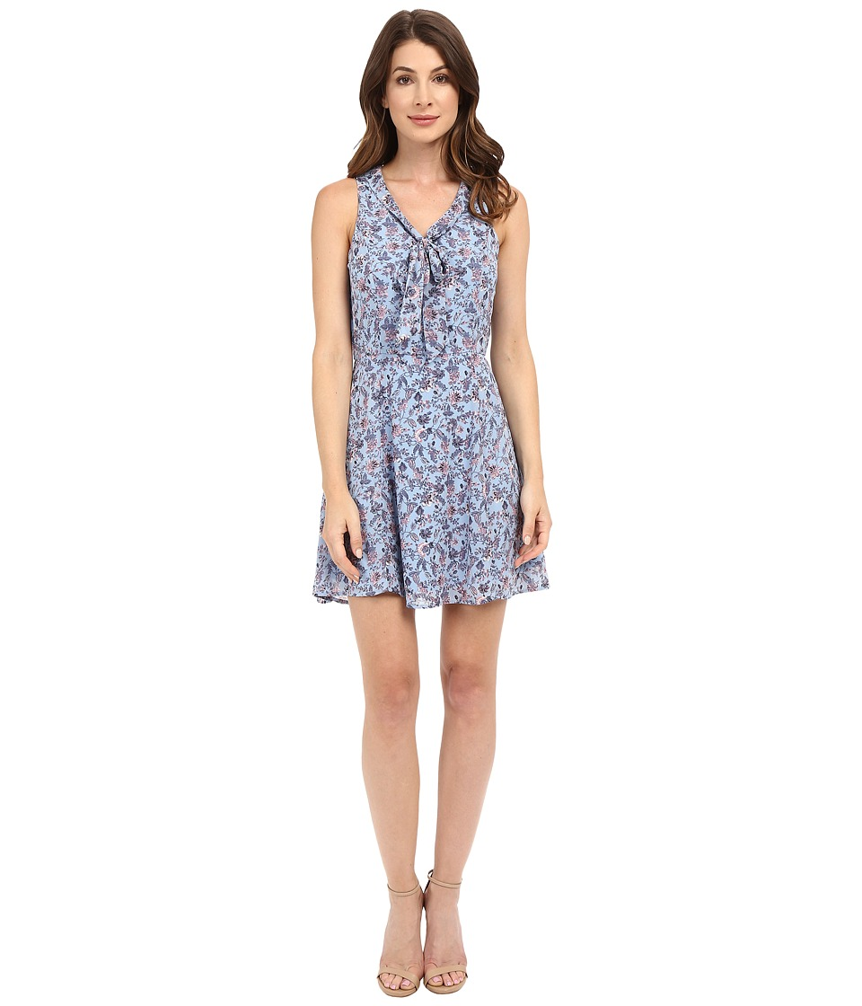 Brigitte Bailey - Tessa Tie Front Printed Dress (Blue) Women's Dress