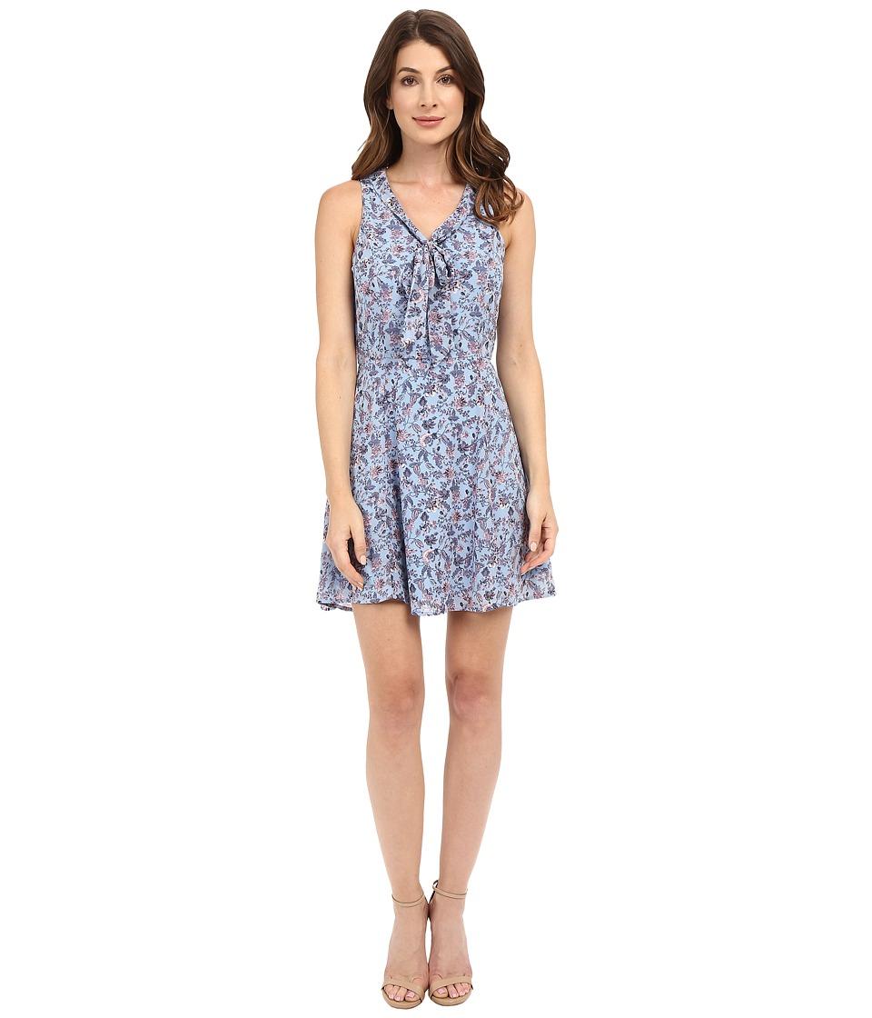 Brigitte Bailey - Tessa Tie Front Printed Dress (Blue) Women's Dress