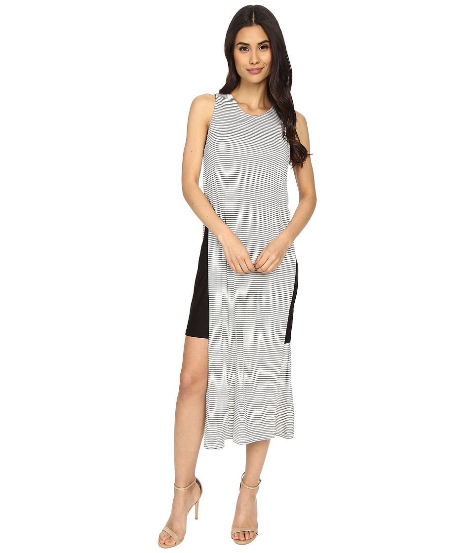 Culture Phit Eleanor Sleeveless Contrast Dress with Side Slit (Ivory/Black) Women