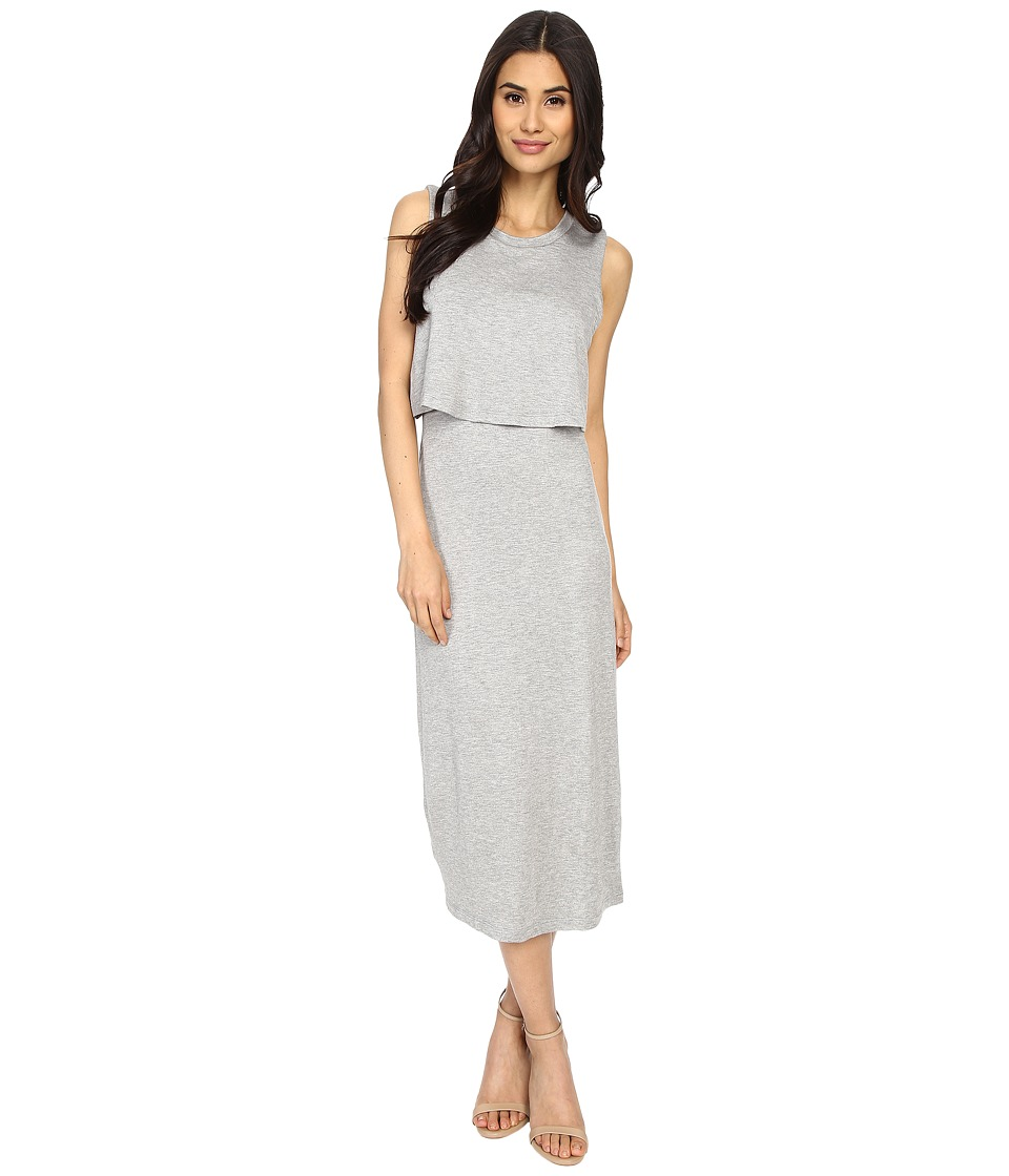 Culture Phit - Cora Midi Layered Dress with Side Cut Outs (Heather Grey) Women