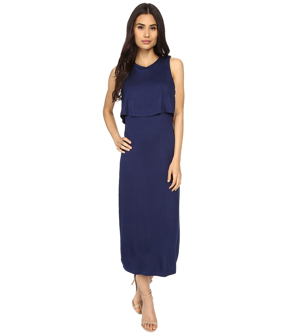 Culture Phit - Cora Midi Layered Dress with Side Cut Outs (Navy) Women's Dress