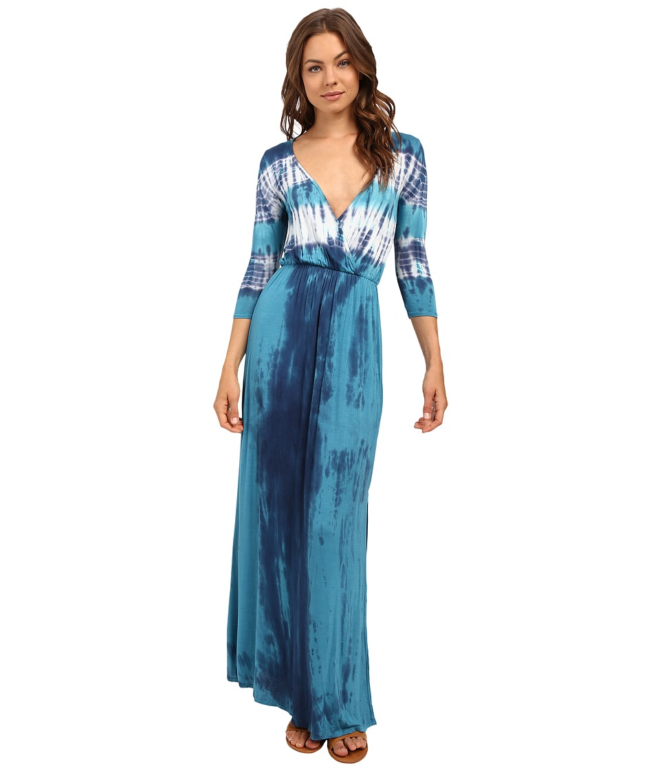Culture Phit - Aaric Wrap Front 3/4 Sleeve Maxi Dress (Teal) Women's Dress