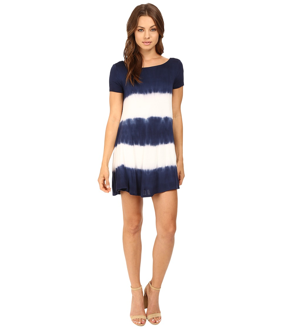 Culture Phit - Alina Short Sleeve Dress with Open Back (Navy/Ivory) Women's Dress