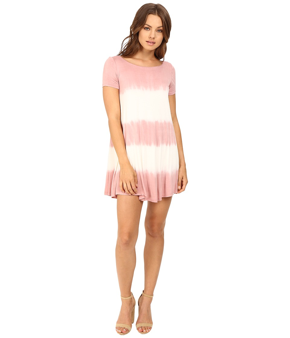 Culture Phit - Alina Short Sleeve Dress with Open Back (Dusty Pink/Ivory) Women's Dress