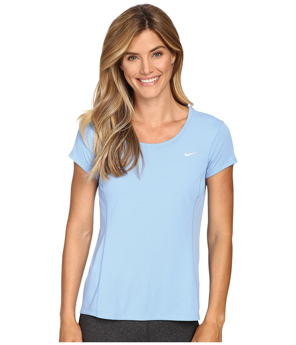 Nike - Dri-FIT Contour Short Sleeve (Light Blue/Reflective Silver) Women's Short Sleeve Pullover
