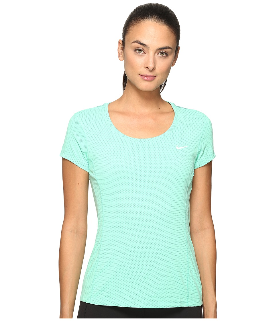 Nike - Dri-FIT Contour Short Sleeve (Green Glow/Reflective Silver) Women's Short Sleeve Pullover