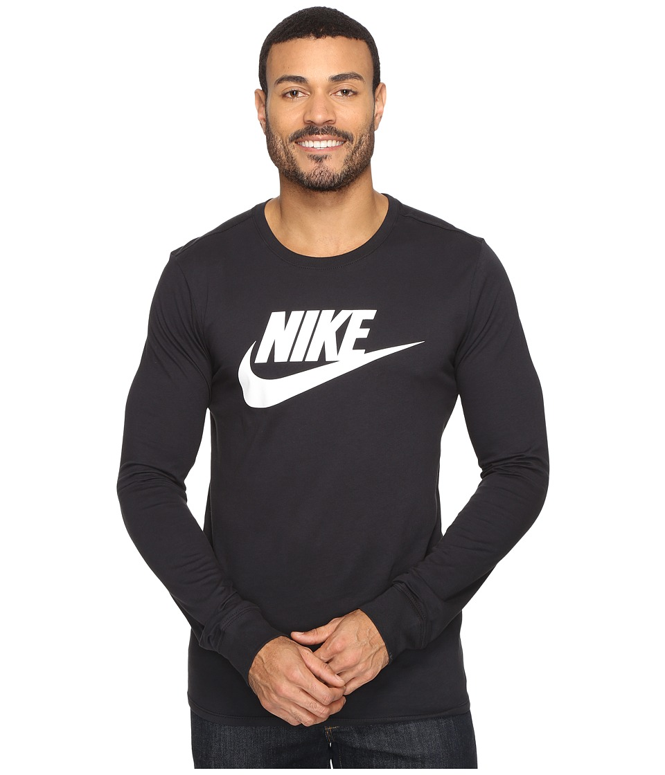 Nike - Futura Icon Long Sleeve Tee (Black/White) Men's Long Sleeve Pullover