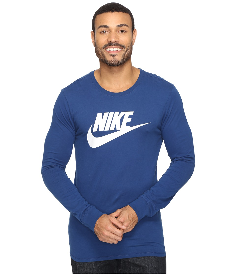 Nike - Futura Icon Long Sleeve Tee (Coastal Blue/Summit White) Men's Long Sleeve Pullover