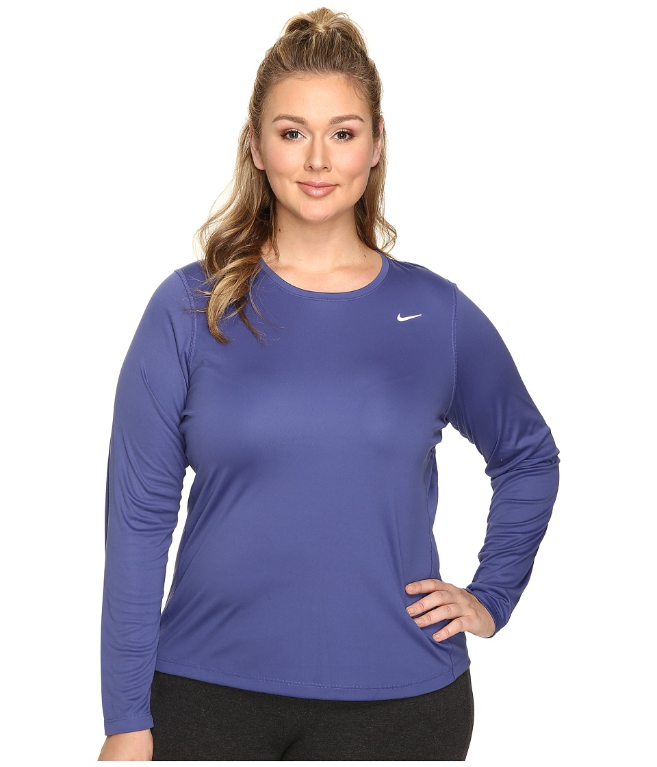 Nike - Miler Long-Sleeve Running Top (Size 1X-3X) (Dark Purple Dust) Women's Long Sleeve Pullover