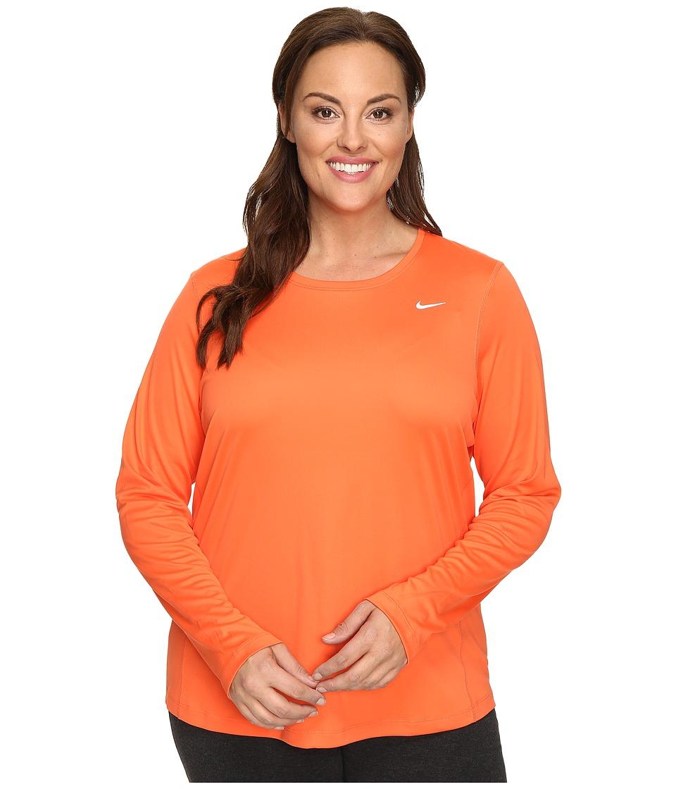 Nike - Miler Long-Sleeve Running Top (Size 1X-3X) (Turf Orange) Women