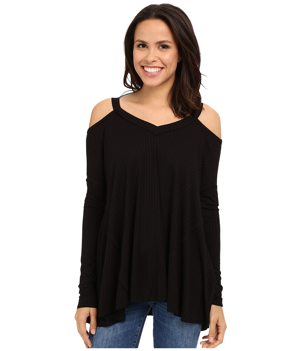 Culture Phit - Constance Cold Shoulder Ribbed Top (Black) Women's Clothing