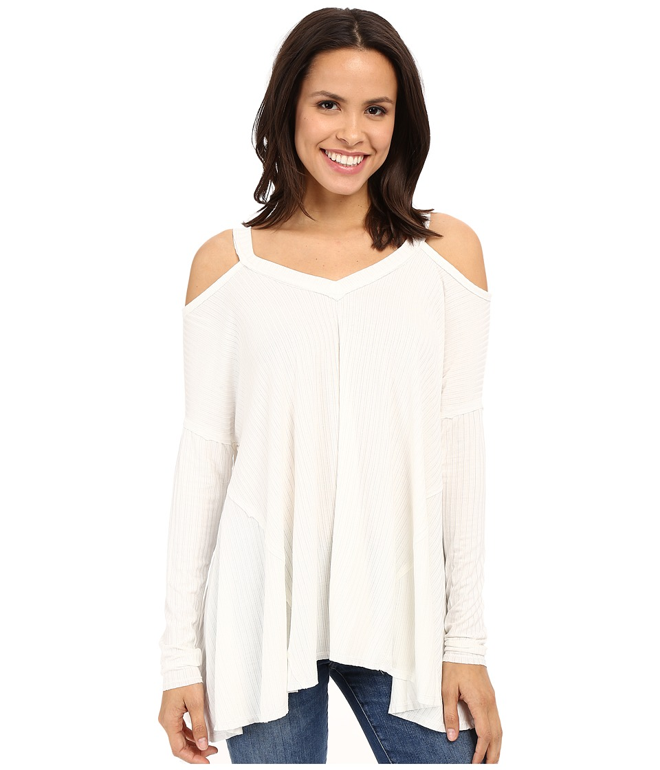 Culture Phit - Constance Cold Shoulder Ribbed Top (Ivory) Women's Clothing