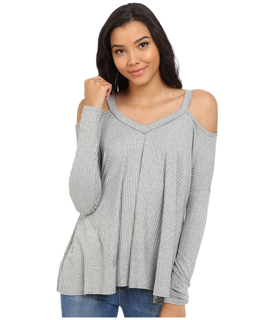 Culture Phit - Constance Cold Shoulder Ribbed Top (Grey) Women's Clothing