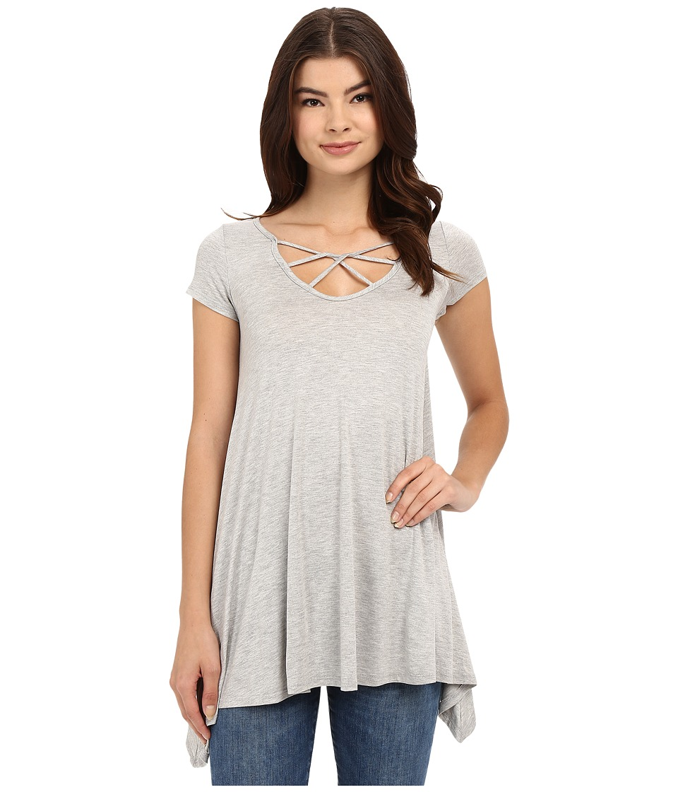 Culture Phit - Aubrianna Cap Sleeve Top with Front Twist (Heather Grey) Women's Clothing