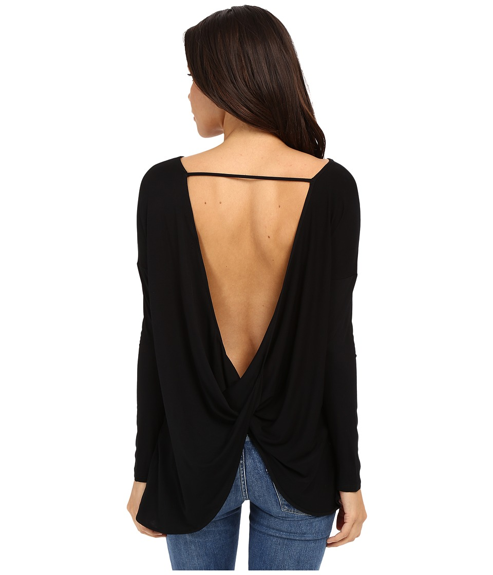 Culture Phit - Brinley Long Sleeve Top with Open Back (Black) Women's Clothing