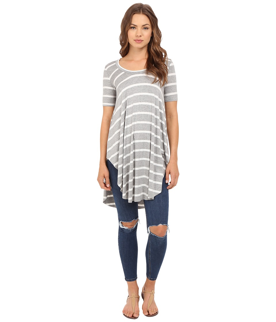 Culture Phit - Ashby Short Sleeve Striped Top (Grey/White) Women's Clothing