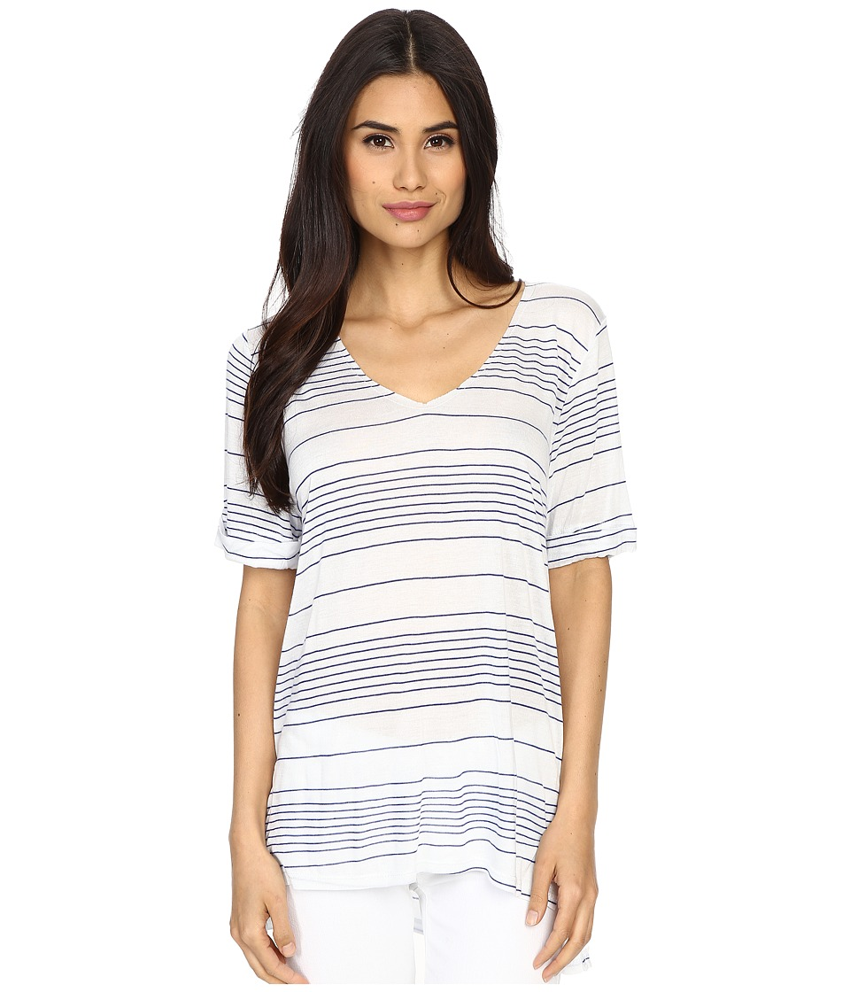 Culture Phit - Clara Striped V-Neck Top (White/Blue) Women's Clothing