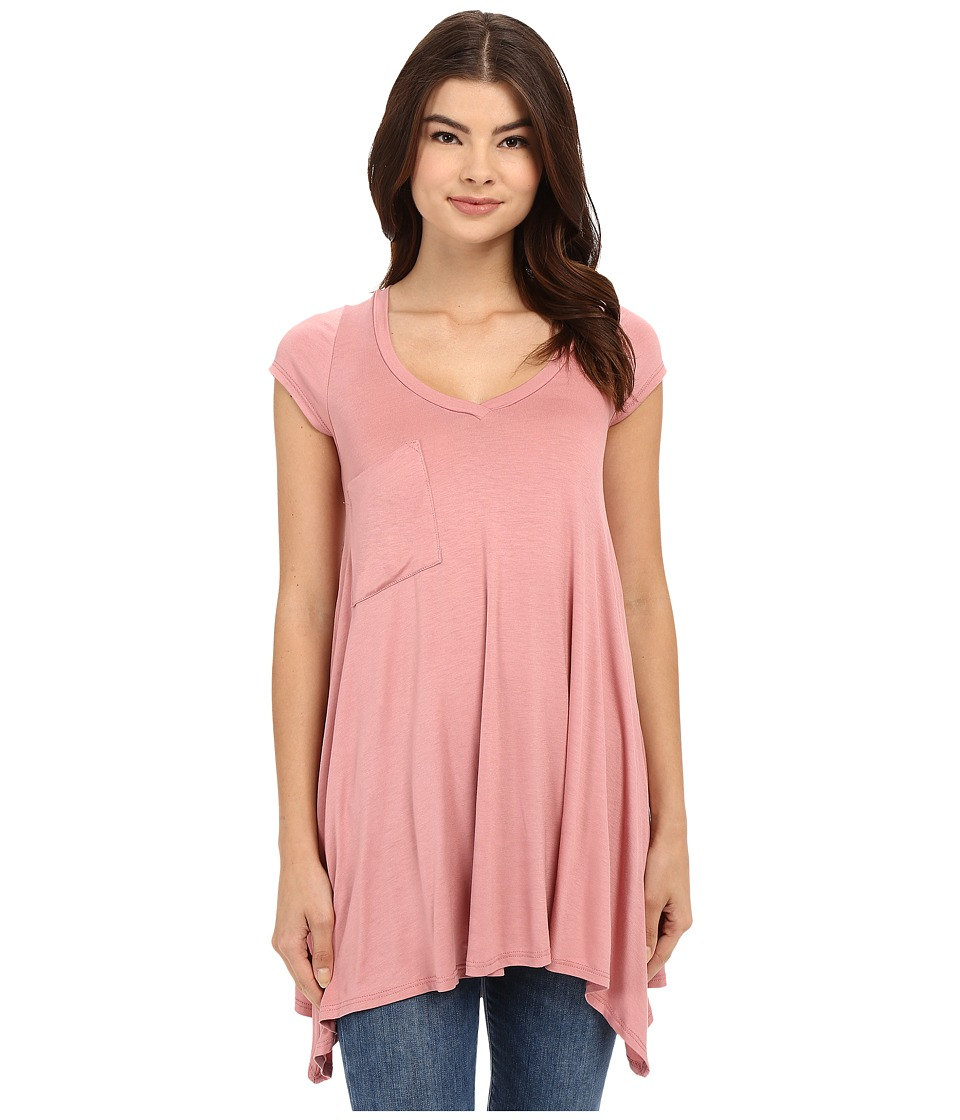 Culture Phit Aster Sharkbite Hem Cap Sleeve Tunic with Pocket (Rose) Women's Blouse