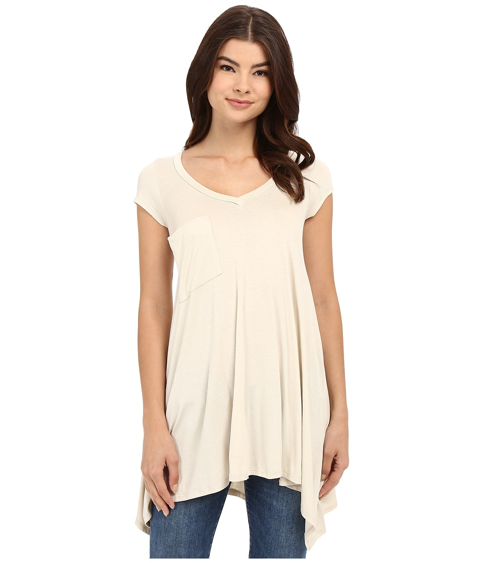Culture Phit - Aster Sharkbite Hem Cap Sleeve Tunic with Pocket (Stone) Women's Blouse