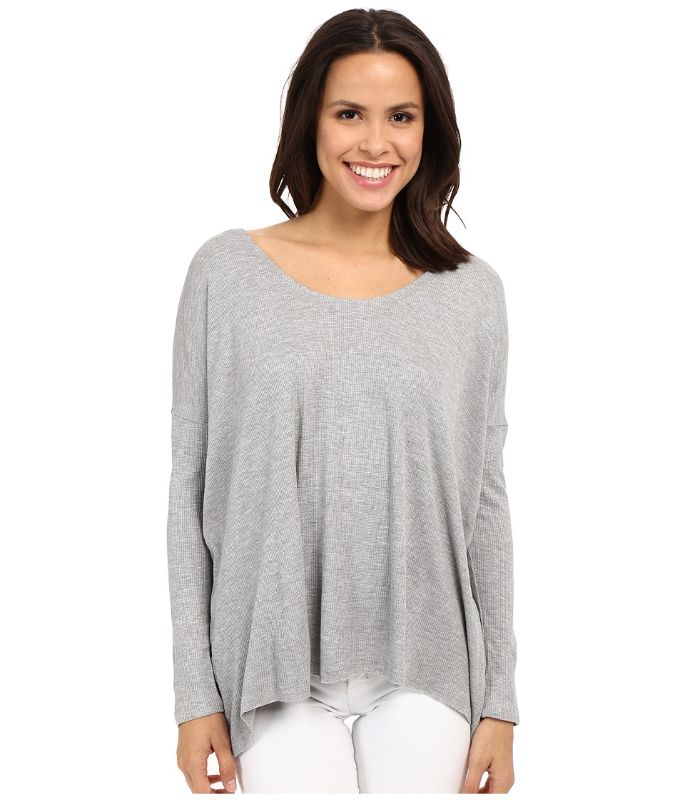 Culture Phit - Calista Waffle Knit Oversized Top (Heather Grey) Women's Clothing