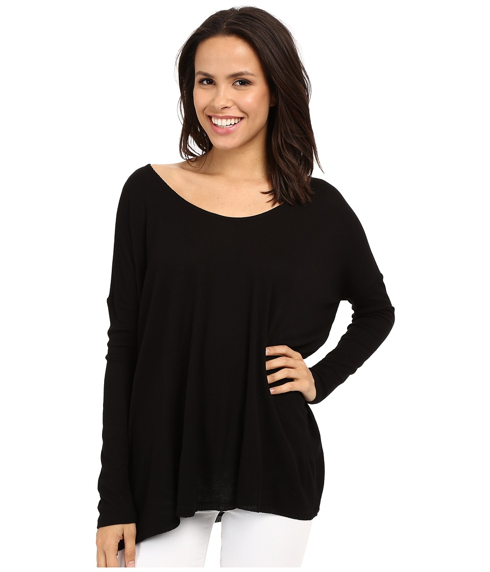 Culture Phit - Calista Waffle Knit Oversized Top (Black) Women's Clothing