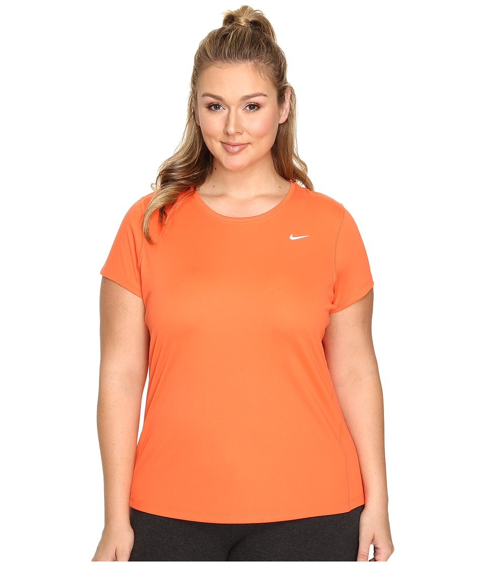 Nike - Miler Short-Sleeve Running Top (Size 1X-3X) (Turf Orange) Women's T Shirt