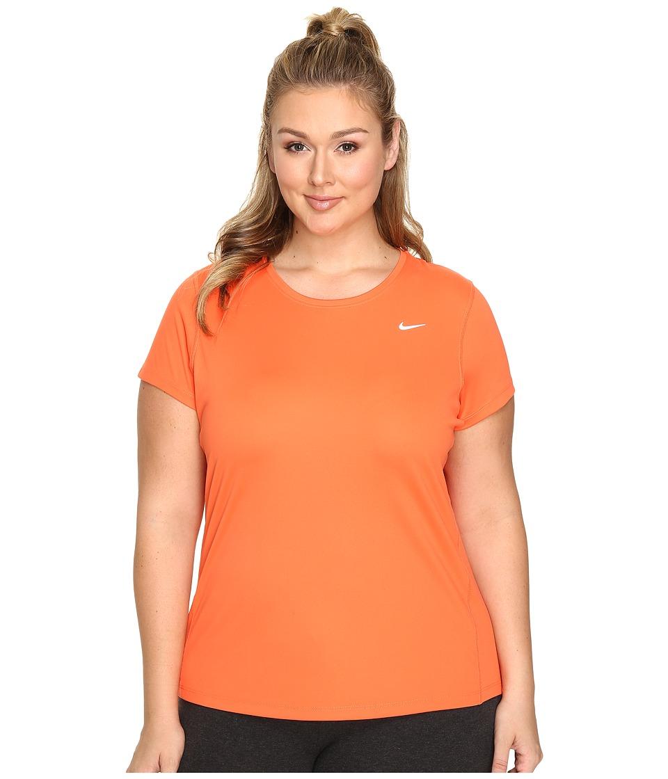 Nike - Miler Short-Sleeve Running Top (Size 1X-3X) (Turf Orange) Women's T Shirt