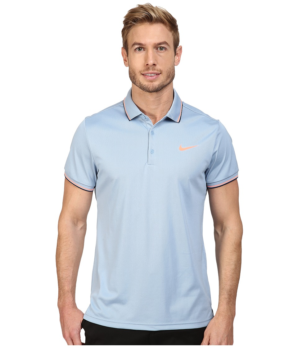 Nike - Court Polo (Blue Grey/Bright Mango) Men's Short Sleeve Pullover