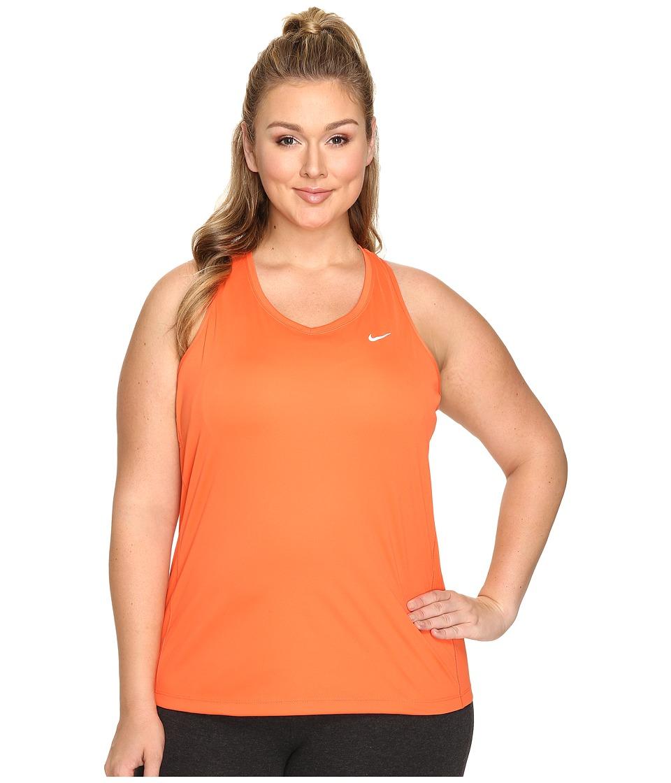 Nike - Dry Miler Running Tank (Size 1X-3X) (Turf Orange) Women's Sleeveless
