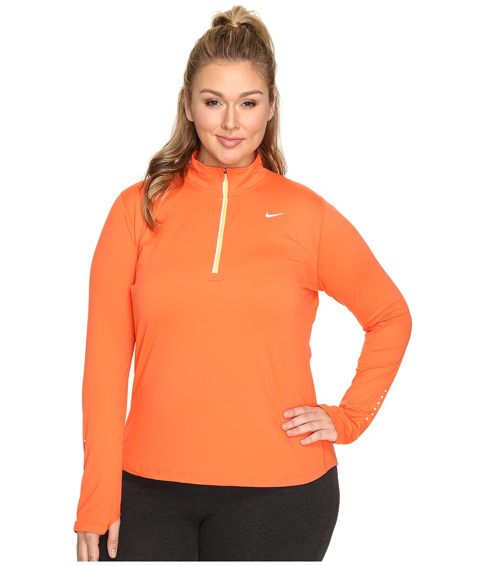 Nike - Dry Element 1/4 Zip Running Top (Size 1X-3X) (Turf Orange/Peach Cream/Reflective Silver) Women's Long Sleeve Pullover