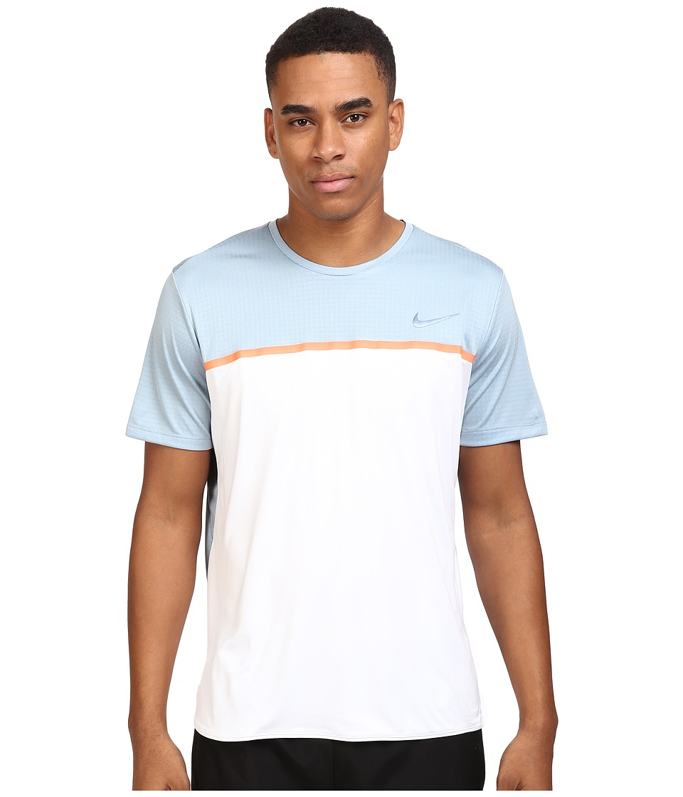 Nike - Challenger Crew (White/Bright Mango/Blue Grey) Men's T Shirt