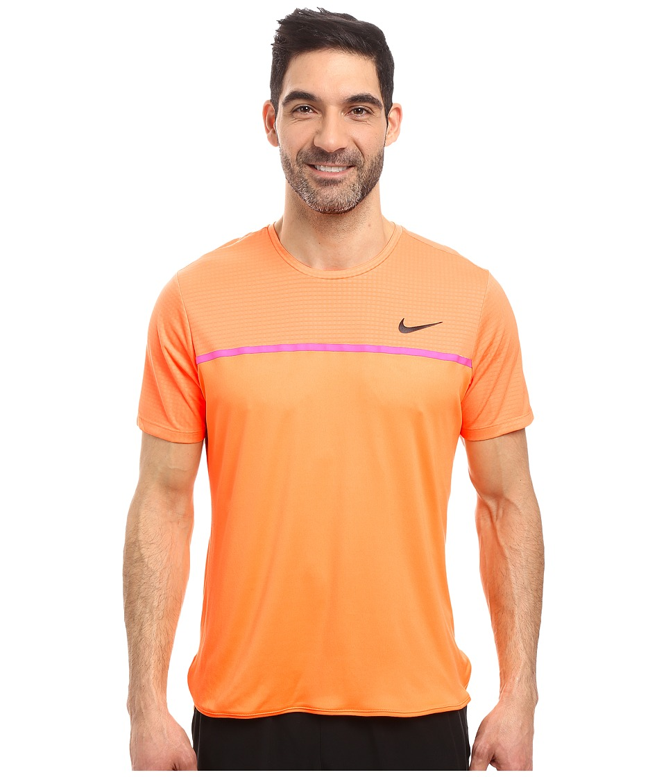 Nike - Challenger Crew (Bright Citrus/Fire Pink/Black) Men's T Shirt