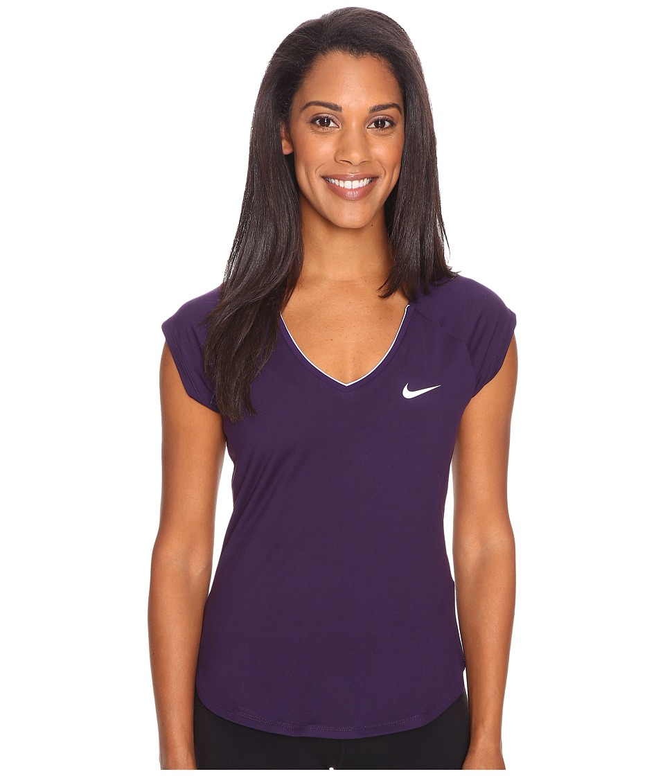 Nike - Court Pure Tennis Top (Purple Dynasty/White) Women's Short Sleeve Pullover
