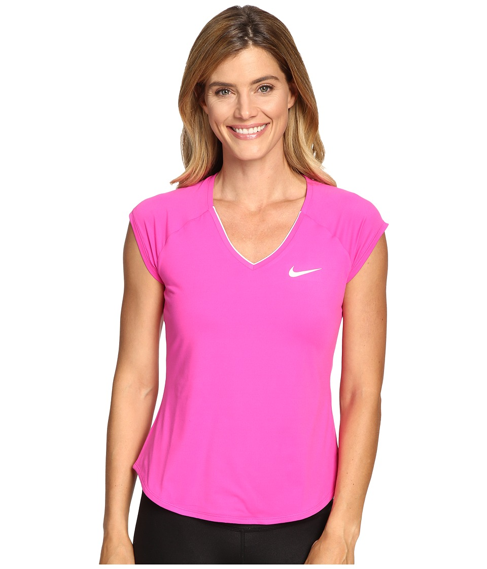 Nike - Court Pure Tennis Top (Fire Pink/White) Women's Short Sleeve Pullover
