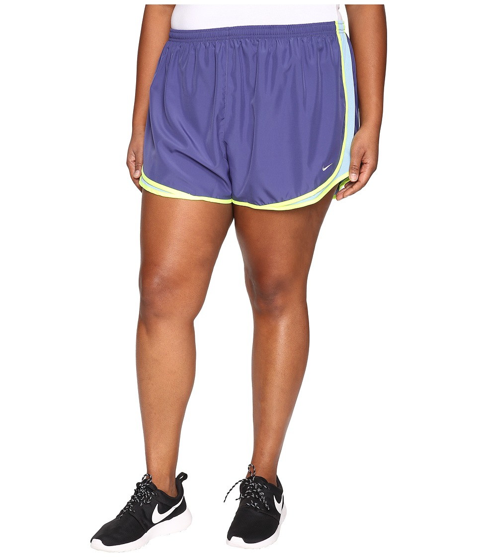 Nike - Dry Tempo Running Short (Size 1X-3X) (Dark Purple Dust/Light Blue/Volt/Wolf Grey) Women's Shorts