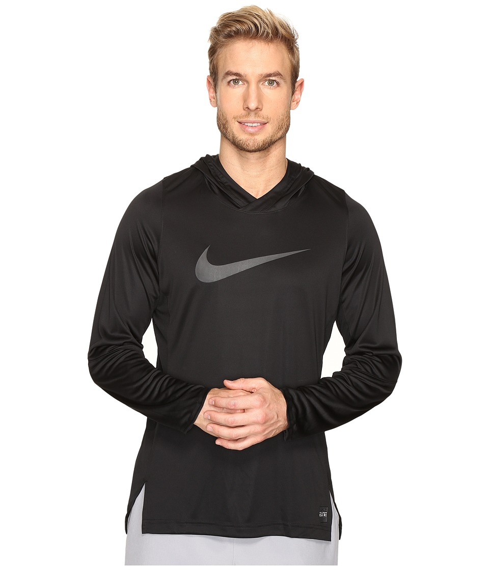 Nike - Dry Elite Long Sleeve Basketball Top (Black/Black/Anthracite/Anthracite) Men's Clothing