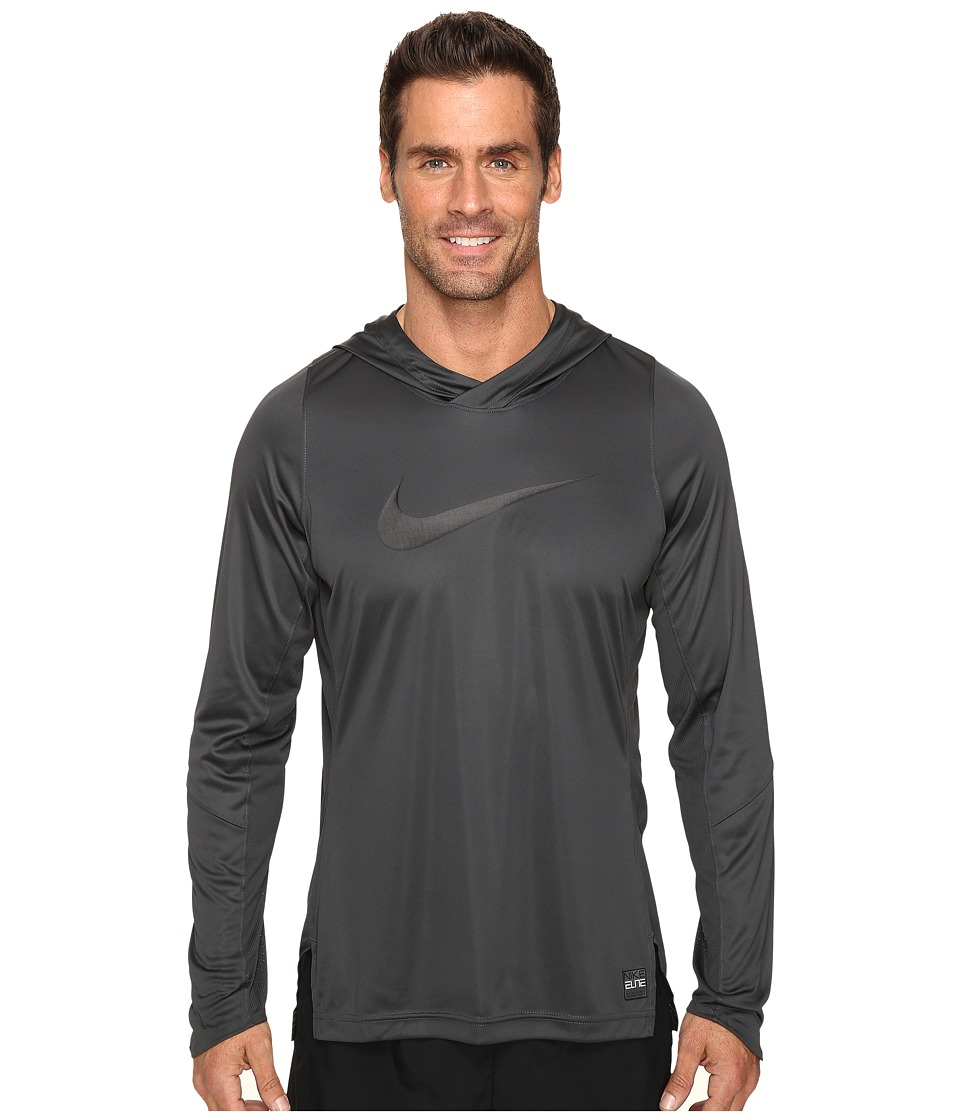 Nike - Dry Elite Long Sleeve Basketball Top (Anthracite/Anthracite/Black/Black) Men's Clothing